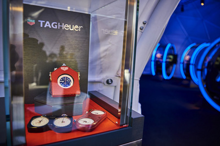 Classic Tag Heuer stop watches were displayed by the dome.