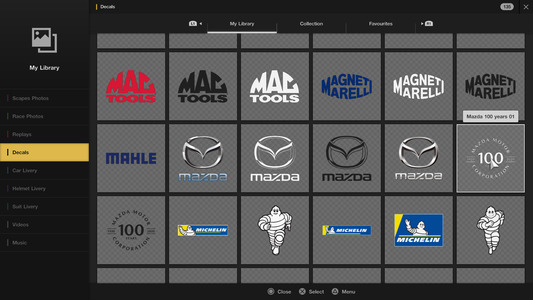 6. Scroll to the bottom of the screen and select the [Mazda 100th Anniversary] logo decal. You may use either the black or white versions.