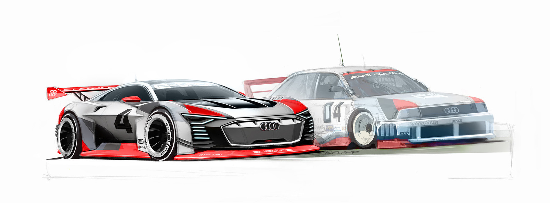 "Sketch of the ""Audi Vision Gran Turismo"" next to the iconic Audi 90 IMSA GTO from the 1989 North American IMSA series."