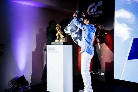 "Unveiling of the trophy that will be given to the winner of the ""FIA GT Online Championships"" that will be hosted in the game."