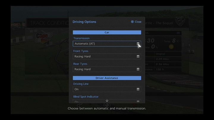 Driving Options - Races - Gran Turismo®6 Manual