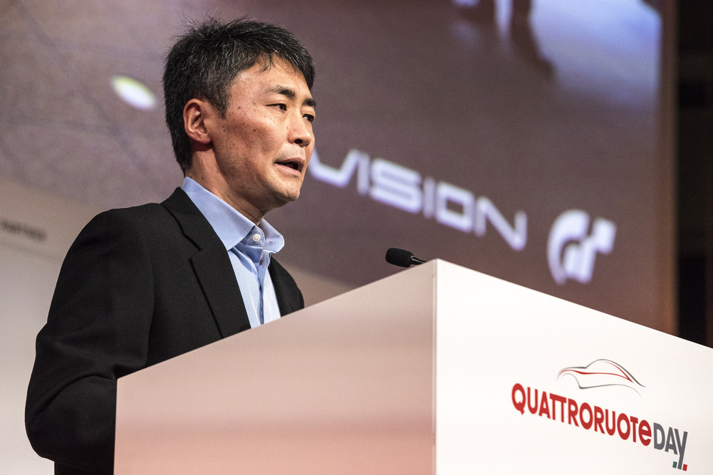 Kazunori Yamauchi during his speech.
